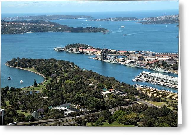 Darling Harbour Greeting Cards - Sydney Harbour and Beyond Greeting Card by Laurel Talabere