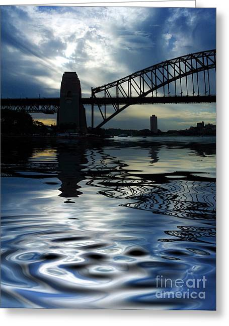 Bridge Greeting Cards - Sydney Harbour Bridge reflection Greeting Card by Sheila Smart