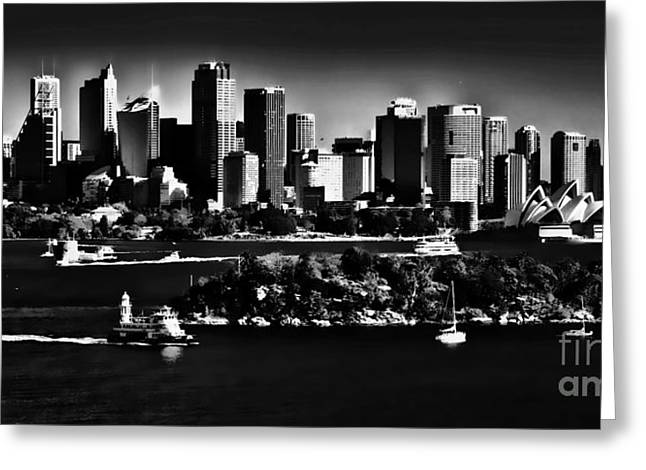 Sydney Greeting Cards - Sydney Harbour monochrome Greeting Card by Sheila Smart