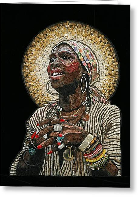 Mosaic Portraits Mixed Media Greeting Cards - Sylvester Greeting Card by Michael Kruzich