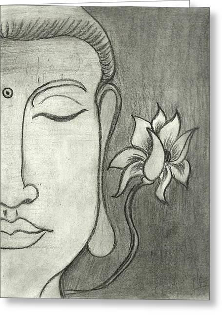 Buddha Sketch Greeting Cards - Symbol of Serenity Greeting Card by Mamta Kataria