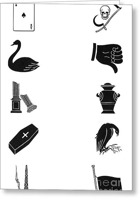 Thumbs Down Greeting Cards - Symbols: Death Greeting Card by Granger