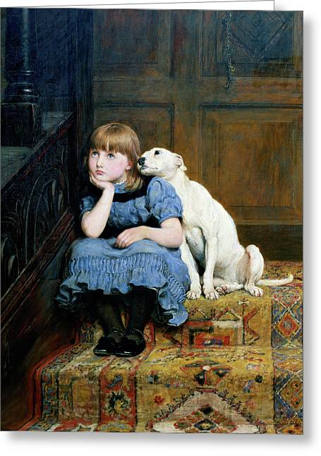 Pensive Greeting Cards - Sympathy Greeting Card by Briton Riviere