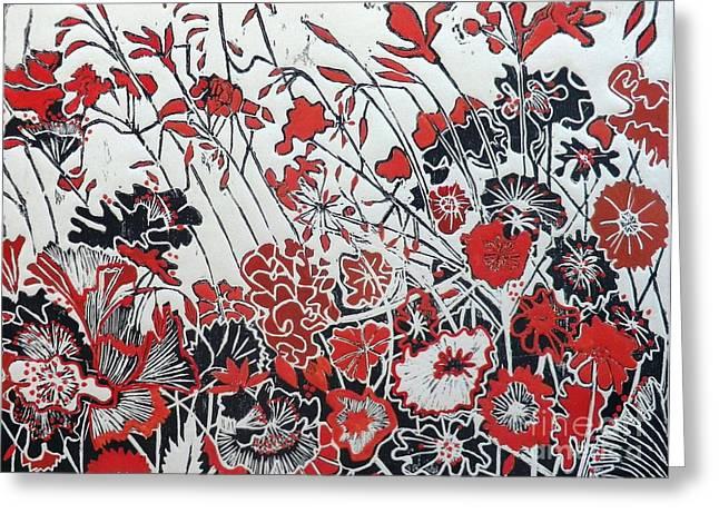 Printmaking Greeting Cards - Symphony in Red Greeting Card by Belinda Nye
