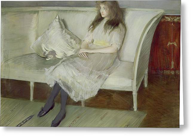 Cushion Paintings Greeting Cards - Symphony in White Greeting Card by Paul Cesar Helleu
