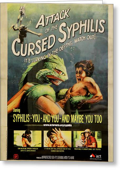 Transmitting Greeting Cards - Syphilis Poster Greeting Card by Andrew Fare
