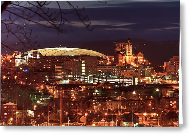 Dome Light Greeting Cards - Syracuse Dome at night Greeting Card by Everet Regal