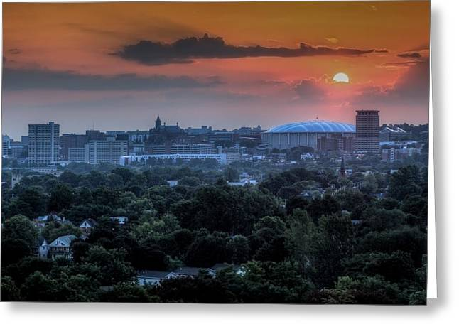 Domes Photographs Greeting Cards - Syracuse Sunrise Greeting Card by Everet Regal