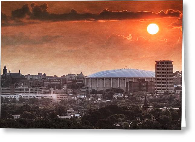 Orange Greeting Cards - Syracuse Sunrise over the Dome Greeting Card by Everet Regal