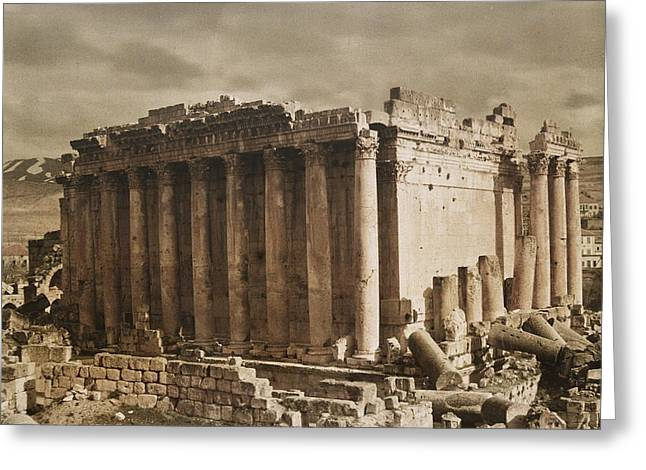 Ruins And Remains Greeting Cards - Syria-baalbek.  The Temple Of Bacchus Greeting Card by Maynard Owen Williams