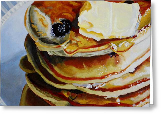 Pancakes Greeting Cards - Syrupy Goodness Greeting Card by Melanie Cossey