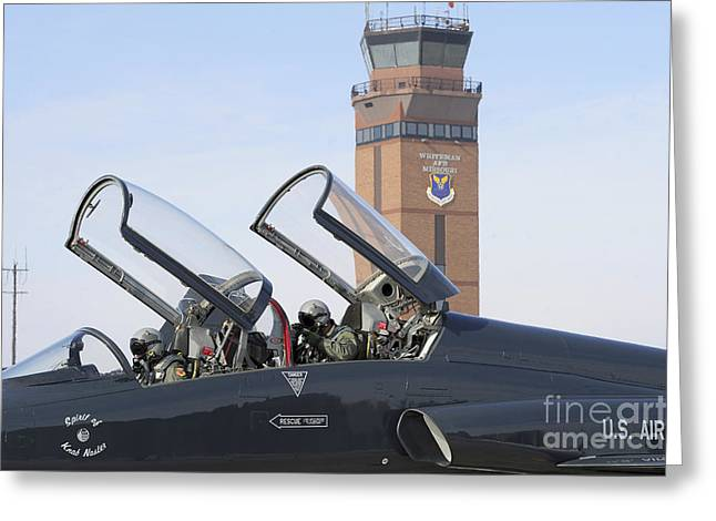 Traffic Control Greeting Cards - T-38 Talon Pilots Make Their Final Greeting Card by Stocktrek Images