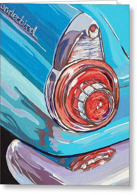 Chrome Paintings Greeting Cards - T-Bird Greeting Card by Sandy Tracey