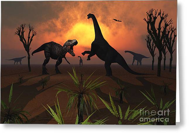 T. Rex Confronts A Group Greeting Card by Mark Stevenson