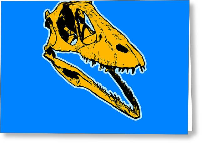 T-rex Greeting Cards - T-Rex Graphic Greeting Card by Pixel  Chimp