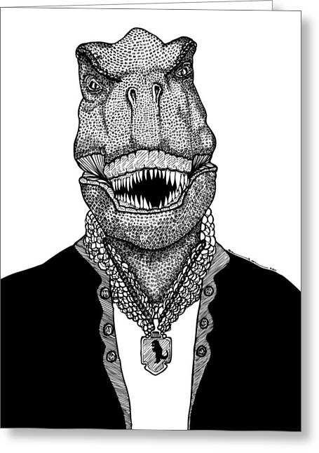 Dinosaurs Drawings Greeting Cards - T Rex The Awesome Dinosaur Greeting Card by Karl Addison