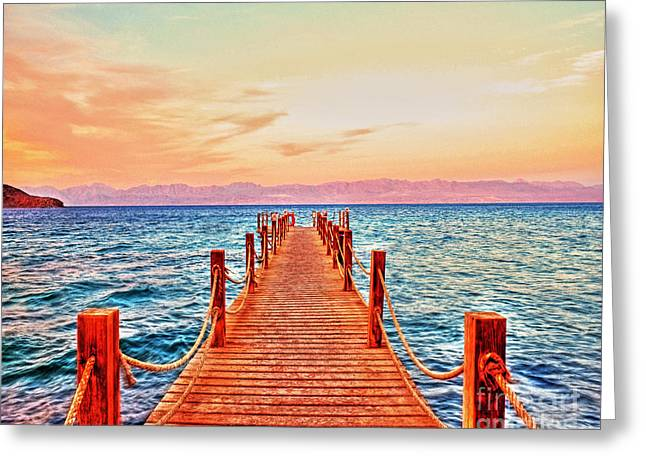 Sinai Mountain Greeting Cards - Taba Heights on the Red Sea Pier In The Evening Greeting Card by Chris Smith