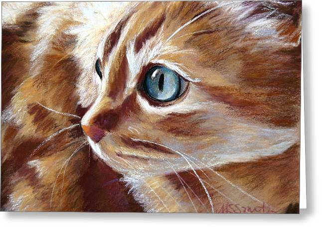 Kitten Prints Pastels Greeting Cards - Tabby Cat  Greeting Card by Mary Sparrow