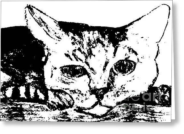 Sunbathing Mixed Media Greeting Cards - Tabby Greeting Card by Jennifer Choate