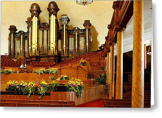 Mormon Tabernacle Greeting Cards - Tabernacle Pipe Organ Greeting Card by Marilyn Hunt
