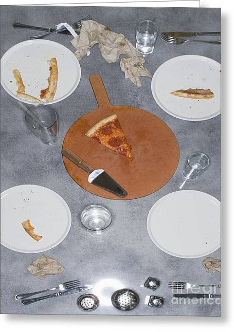 Table After Pizza Dinner Greeting Card by Andersen Ross