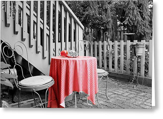 Table and Chairs Greeting Card by Frank Nicolato
