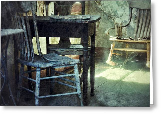 Table and Chairs Greeting Card by Jill Battaglia