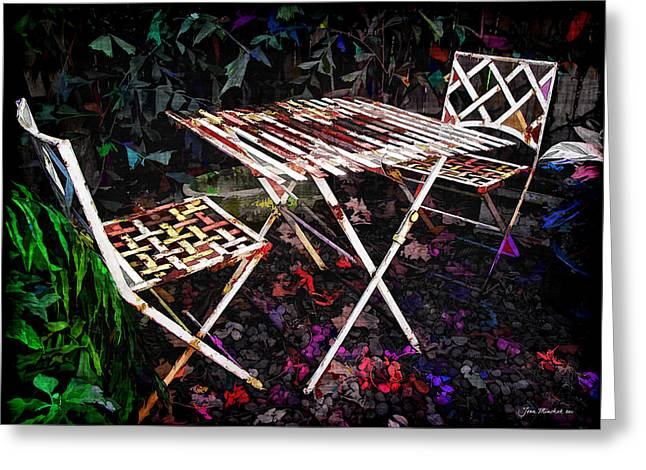 Table and Chairs Greeting Card by Joan  Minchak