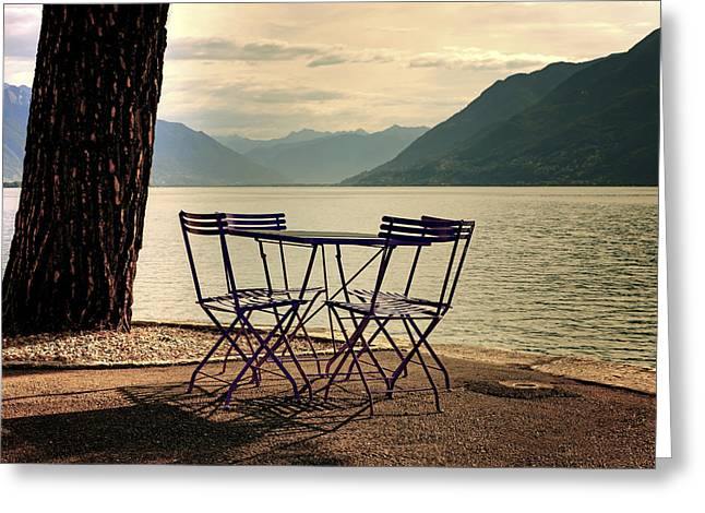 Empty Chairs Greeting Cards - Table And Chairs Greeting Card by Joana Kruse