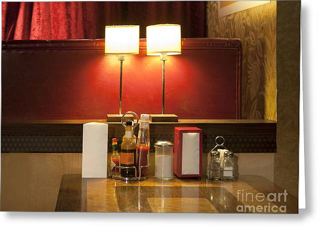 Tallinn Greeting Cards - Table at an Americana Diner Greeting Card by Jaak Nilson