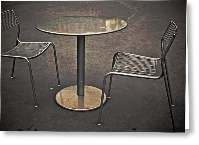 Empty Chairs Greeting Cards - Table For None Greeting Card by Odd Jeppesen