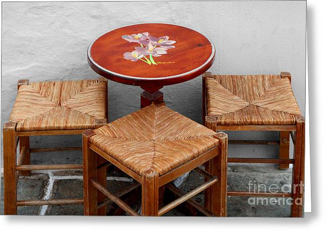 Ladder Back Chairs Greeting Cards - Table for Three Please Greeting Card by George  Saitas