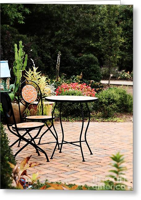Brick Patio Greeting Cards - Table for Two Greeting Card by Stephanie Frey
