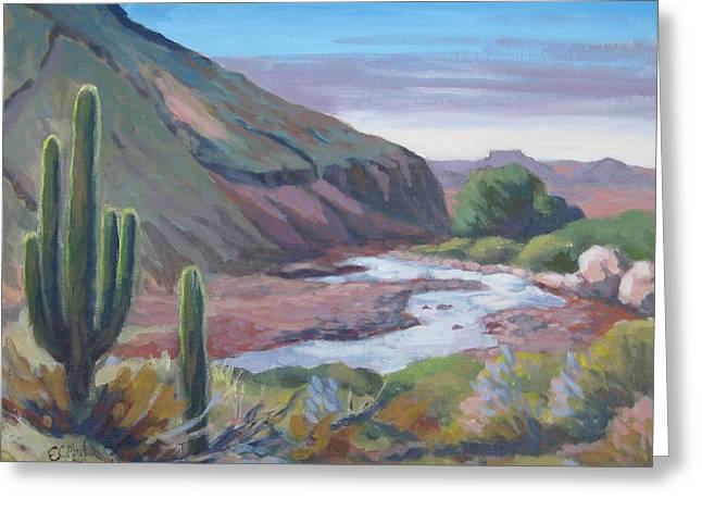 Table Mesa Greeting Cards - Table Mesa at New River Arizona Greeting Card by Edward Abela
