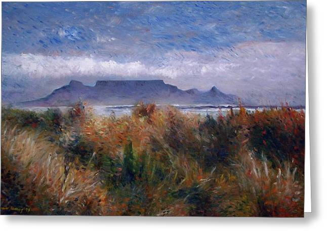 Cape Town Greeting Cards - Table Mountain from Blouwbergstrand Cape Town South Africa 1999 Greeting Card by Enver Larney