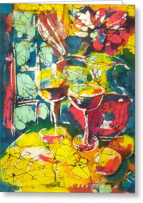 Wine Tapestries - Textiles Greeting Cards - Table Greeting Card by Nadejda Lilova