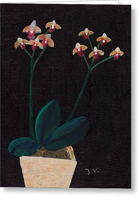 Acrylic Art Greeting Cards - Table Orchid Greeting Card by Jose Valeriano