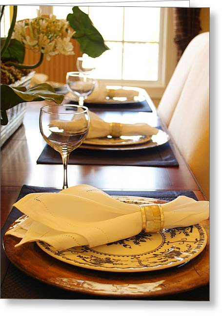 Wine Holder Photographs Greeting Cards - Table Set for Dinner Greeting Card by Jeremy Allen