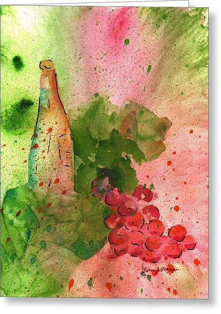 Red Cat Wine Greeting Cards - Table Wine Greeting Card by Fern Payne