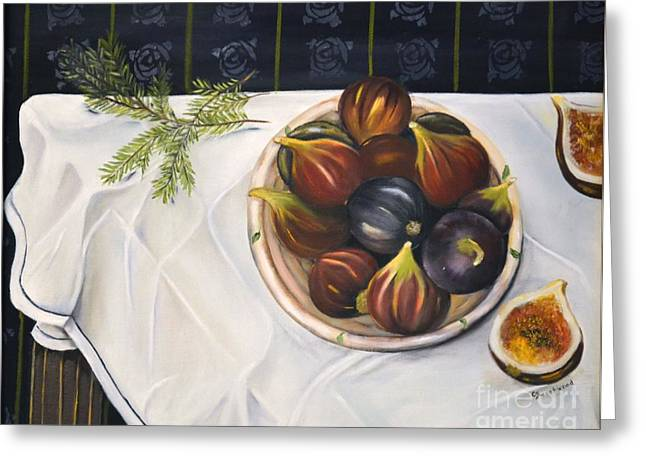 White Cloth Paintings Greeting Cards - Table with Figs Greeting Card by Carol Sweetwood