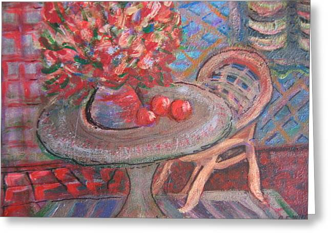 Table With Flowers And Chair Greeting Card by Anne-Elizabeth Whiteway