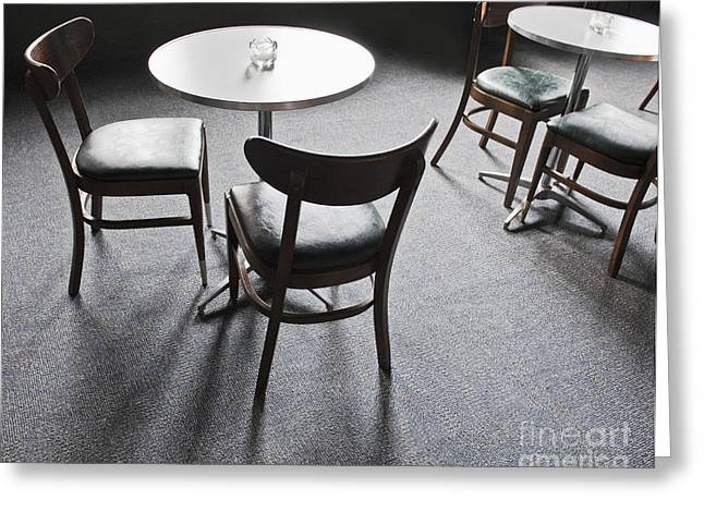 Backlit Greeting Cards - Tables and Chairs in a Cafe Greeting Card by Thom Gourley/Flatbread Images, LLC