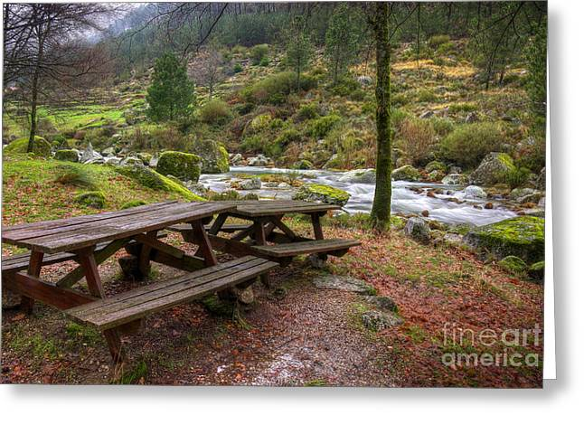 Rapids Greeting Cards - Tables by the River Greeting Card by Carlos Caetano