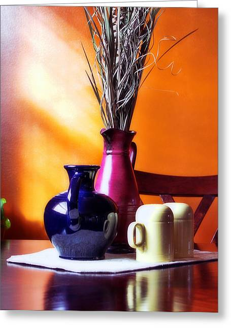 Still Life Photographs Greeting Cards - Tabletop Greeting Card by Peter Chilelli