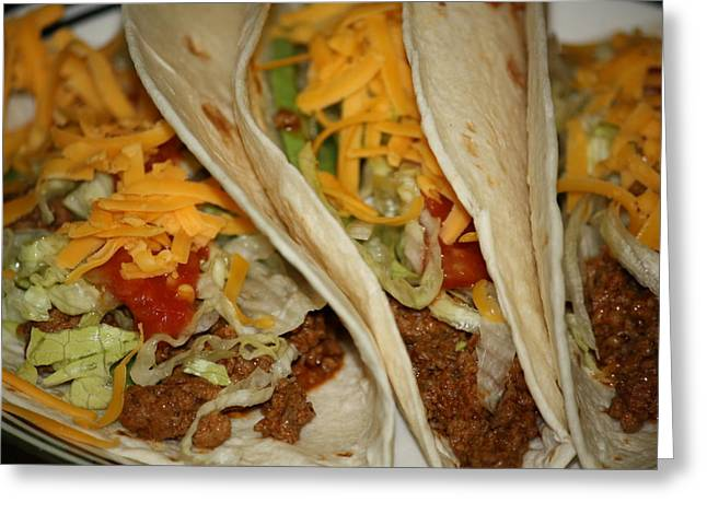 Taco Greeting Cards - Taco Dinner Greeting Card by Karen M Scovill