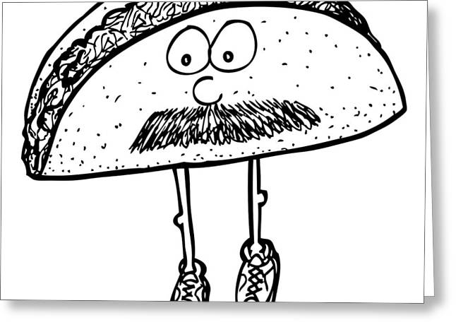Taco Greeting Cards - Taco Mustache Greeting Card by Karl Addison