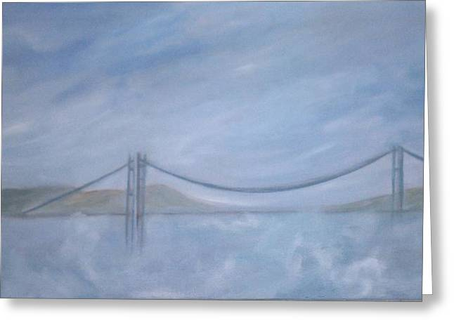Commencement Bay Greeting Cards - Tacoma Narrows Bridge Greeting Card by Lorraine Toler
