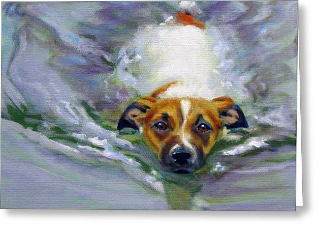 Swimming Dog Greeting Cards - Tadpole Greeting Card by Pat Burns