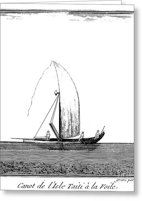 Canoe Photographs Greeting Cards - Tahiti: Canoe, 1771 Greeting Card by Granger