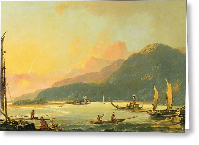 Tahiti Greeting Cards - Tahitian War Galleys in Matavai Bay - Tahiti Greeting Card by William Hodges